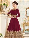 image of Embroidery Work On Maroon Party Wear Anarkali Salwar Suit In Georgette Fabric