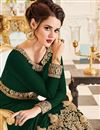 photo of Dark Green Georgette Fabric Festive Wear Anarkali Suit With Embroidery Designs