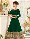image of Dark Green Georgette Fabric Festive Wear Anarkali Suit With Embroidery Designs