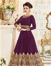 image of Designer Anarkali Salwar Kameez In Burgundy Georgette Fabric With Embroidery Designs