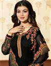 photo of Ayesha Takia Georgette Fabric Straight Churidar Dress In Black With Work