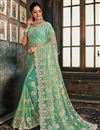 image of Function Wear Net Fabric Designer Embroidered Saree In Sea Green Color