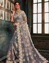 image of Function Wear Net Fabric Designer Embroidered Saree In Grey Color