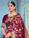 photo of Art Silk Fabric Puja Wear Trendy Weaving Work Saree In Maroon Color