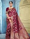 image of Art Silk Fabric Puja Wear Trendy Weaving Work Saree In Maroon Color