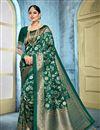 image of Dark Green Color Trendy Puja Wear Art Silk Fabric Weaving Work Saree