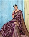 photo of Art Silk Fabric Puja Wear Purple Color Trendy Weaving Work Saree