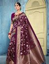 image of Art Silk Fabric Puja Wear Purple Color Trendy Weaving Work Saree