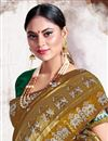 photo of Trendy Art Silk Fabric Puja Wear Khaki Color Weaving Work Saree