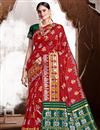 image of Art Silk Fabric Trendy Puja Wear Red Color Weaving Work Saree