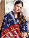 photo of Art Silk Fabric Trendy Puja Wear Navy Blue Color Weaving Work Saree