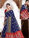 image of Trendy Puja Wear Navy Blue Color Weaving Work Saree In Art Silk Fabric