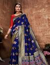 image of Art Silk Fabric Blue Color Festive Wear Saree With Weaving Work And Designer Blouse