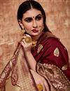 photo of Designer Saree In Art Silk Fabric Maroon Color With Weaving Work And Party Wear Blouse