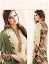 photo of Tempting Beige Color Embroidered Georgette Fabric Designer Salwar Kameez