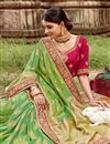 photo of Art Silk Sea Green Color Festive Wear Saree With Weaving Work And Attractive Blouse