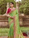 image of Art Silk Sea Green Color Festive Wear Saree With Weaving Work And Attractive Blouse