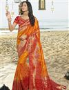 image of Eid Special Traditional Wear Designer Orange Weaving Work Saree With Fancy Blouse In Art Silk