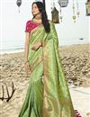 image of Sea Green Designer Traditional Wear Art Silk Weaving Work Saree With Heavy Blouse