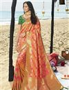 image of Eid Special Orange Designer Traditional Wear Art Silk Weaving Work Saree With Heavy Blouse