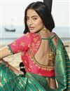 photo of Eid Special Traditional Wear Designer Art Silk Weaving Work Saree With Fancy Blouse In Cyan