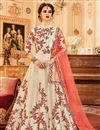 image of Cream Art Silk Function Wear Embroidered Anarkali Salwar Kameez