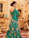 photo of Embroidery Work On Dark Cyan Party Wear Anarkali Suit In Art Silk