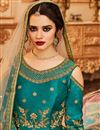 picture of Embroidery Work On Dark Cyan Party Wear Anarkali Suit In Art Silk
