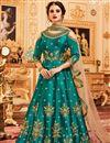 image of Embroidery Work On Dark Cyan Party Wear Anarkali Suit In Art Silk
