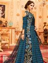 picture of Art Silk Designer Anarkali Salwar Suit In Navy Blue With Embroidery
