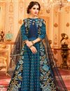 image of Art Silk Designer Anarkali Salwar Suit In Navy Blue With Embroidery