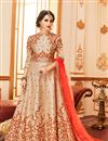image of Chikoo Color Art Silk Function Wear Embroidered Anarkali Salwar Kameez
