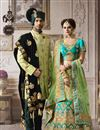picture of Satin Fabric Bridal Wear Designer Embroidered Lehenga Choli In Green And Cyan Color With Beautiful Blouse