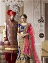 picture of Designer Blue Color Wedding Wear Embroidered 3 Piece Lehenga Choli In Velvet Fabric