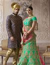 picture of Satin Fabric Bridal Wear Designer Embroidered Lehenga Choli In Green Color With Beautiful Blouse