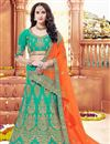 image of Wedding Special Bridal Wear Cyan Embellished Designer Lehenga