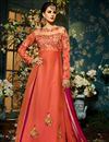 image of Taffeta Silk Fancy Function Wear Salmon And Rani Color Designer Sharara Top Lehenga