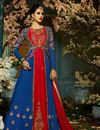 image of Wedding Wear Navy Blue And Red Designer Taffeta Silk Sharara Top Lehenga