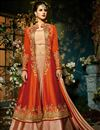 image of Taffeta Silk Function Wear Designer Sharara Top Lehenga In Light Salmon And Rust Color
