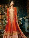 image of Taffeta Silk Function Wear Designer Sharara Top Lehenga In Light Salmon And Rust Color