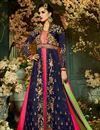 image of Designer Fancy Taffeta Silk Navy Blue And Rani Color Sharara Top Lehenga
