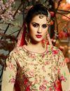 picture of Eid Special Wedding Function Wear Beige And Pink Taffeta Silk Floor Length Anarkali Suit
