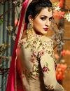 photograph of Eid Special Wedding Function Wear Beige And Pink Taffeta Silk Floor Length Anarkali Suit