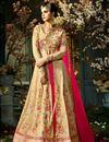 image of Eid Special Wedding Function Wear Beige And Pink Taffeta Silk Floor Length Anarkali Suit