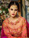 picture of Eid Special Taffeta Silk Fancy Function Wear Salmon And Rani Color Designer Long Anarkali Dress