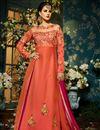 image of Eid Special Taffeta Silk Fancy Function Wear Salmon And Rani Color Designer Long Anarkali Dress