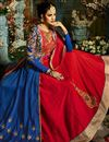 photo of Eid Special Wedding Wear Navy Blue And Red Designer Taffeta Silk Floor Length Anarkali Suit