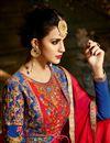 picture of Eid Special Wedding Wear Navy Blue And Red Designer Taffeta Silk Floor Length Anarkali Suit