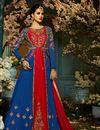 image of Eid Special Wedding Wear Navy Blue And Red Designer Taffeta Silk Floor Length Anarkali Suit