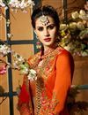 picture of Eid Special Taffeta Silk Function Wear Designer Light Salmon And Rust Color Anarkali Suit